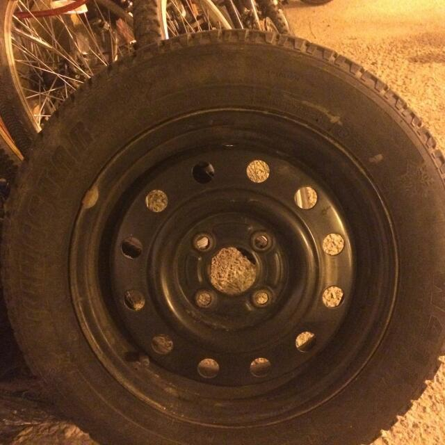 Tires With Rims, Bike Rack And Over Head Racks