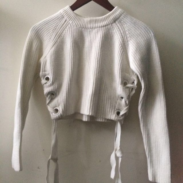 TOPSHOP Cropped Lace Up Sweater