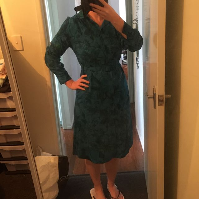 Vintage 80s Does 50s Dress With Matching Belt