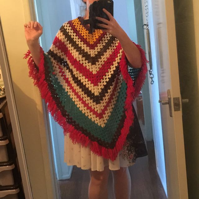 Vintage Hand Made Boho Crocheted Poncho