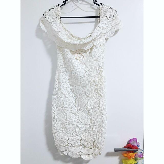 White Off-Shoulder Crochet Bodycon Dress