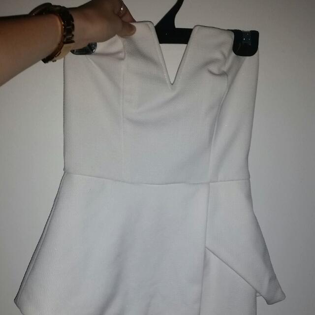 White, Tight, Peplum Style Dress