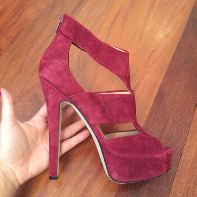 Wittner Burgundy Leather/Suede Heels Size 40