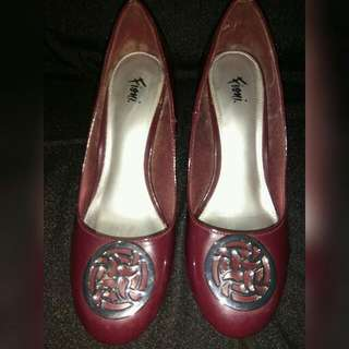 Fioni Maroon Wedge Shoes