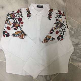 Bat Sleeve embroidery Shirt