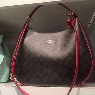 Preloved Coach Signature Haley Hobo - Brown True Red