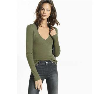 Express Olive Green V Neck Sweater