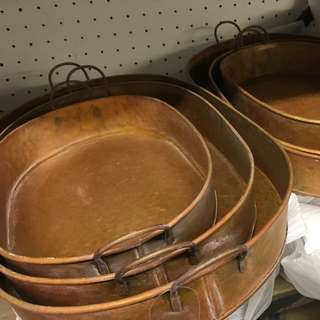 Brand New Set Copper Bronze metal  Aged Look Serving Trays