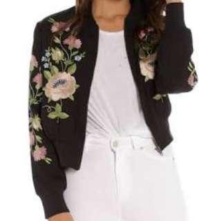 Floral Embroidered Bomber Jacket