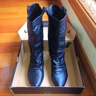 BLACK LEATHER LOOKING BOOTS