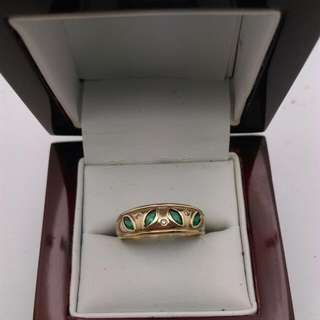 Genuine 9CT Yellow Gold Ring With Emerald And Diamonds