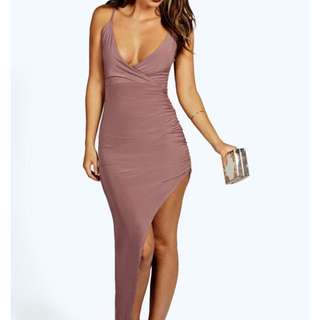 Asymmetric Pink Silk Dress.