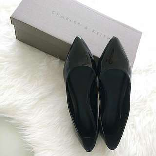 Charles & Keith Black Patent Pointed Ballerina Flats