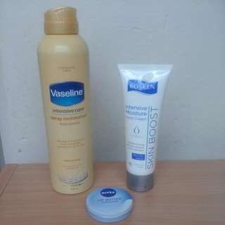 Moisture Pack. Vaseline Intensive Care Spray Moisturiser 190g RRP $9.99. Nivea Lip Butter Unscented 19ml RRP $4.99. Rosken Intensive Hand Moisturiser 75ml RRP is $3.99. Get Your Skin Hydrated With This Pack Deal $9.00 Savings😀