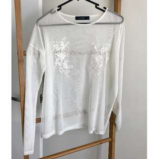 White Long Sleeve Mesh Embroidered Top