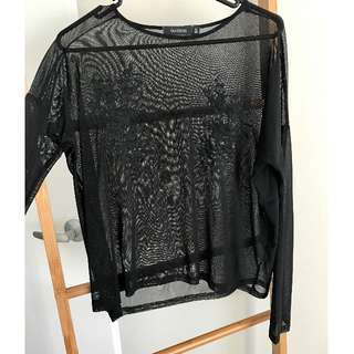 Black Long Sleeve Mesh Embroidered Top