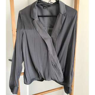 Navy Grey Long Sleeve Satin Blouse