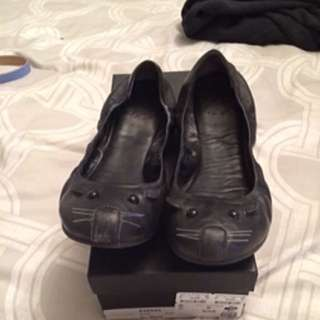 Marc By Marc Jacobs Black Leather Mouse Flats