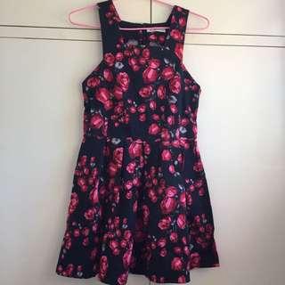Mika & Gala Black And Red Rose Skater Dress