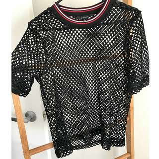 Collared Black Net Shirt