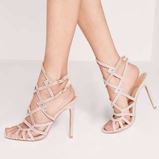 Missguided laser cut embellished heeled gladiators nude Size 7