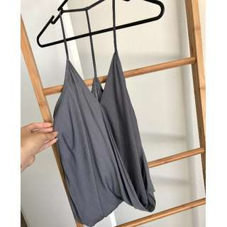 Grey Cross Over Satin Cami