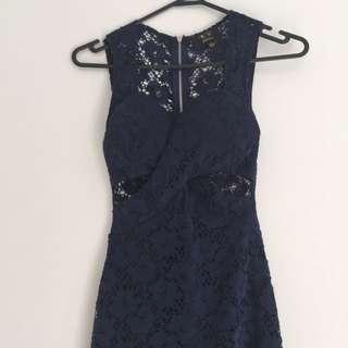 Navy Blue Lace Detail Cutout Dress