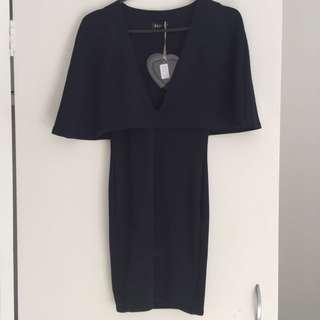 Navy Low Cut Cape Dress