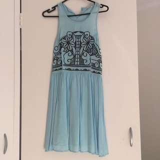 Vintage Ladies Aqua Dress