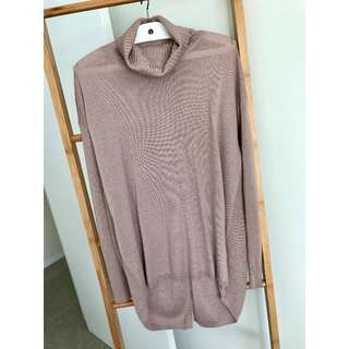 Mauve Split Back Turtle Neck Merino