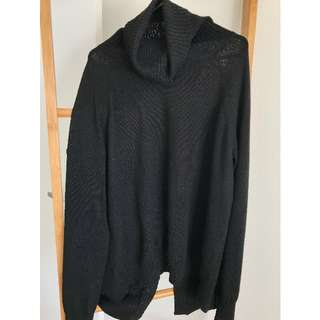 Black Split Back Turtle Neck Merino