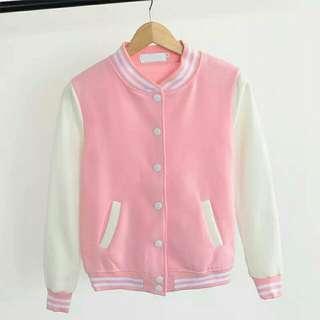 Pastel Pink Varsity Jacket