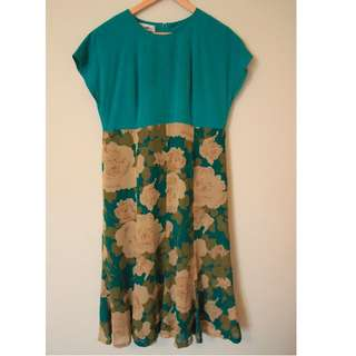 | JP VINTAGE | Green x Rose Dress