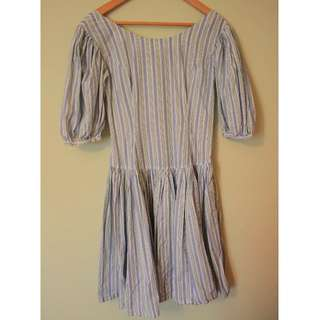 | JP VINTAGE | Stripe Princess sleeves Tied waist Dress
