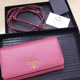 c8fa45fff29d Brandnew Prada Saffiano Wallet With Strap And Receipt , 2 In 1 Bag Model:  1m1437