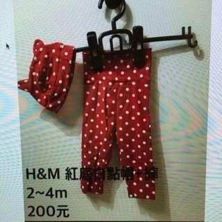 H&M 紅底白點帽+褲