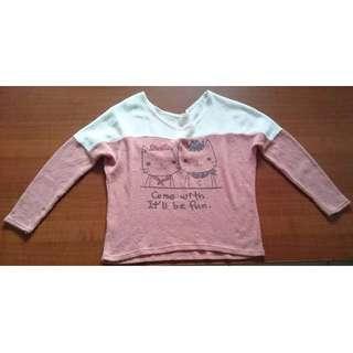 🚚 粉紅色貓咪針織上衣