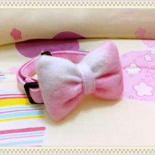 #9.白混粉色絨布手工蝴蝶結項圈 犬用貓用