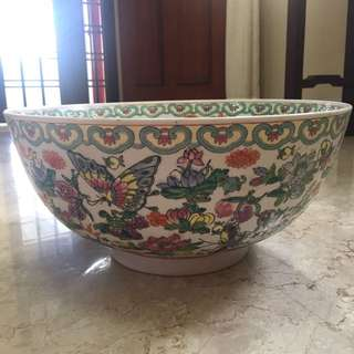 Giant Vintage Chinese Porcelain Bowl Excellent Condition