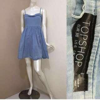 Topshop Denim Sweetheart Dress