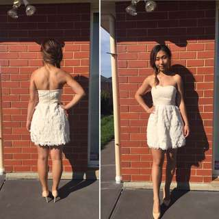 Cute Strapless Size 6 Cream Dress