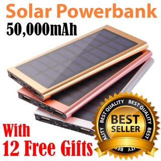 Mobile Solar Power Bank 50000 mah powerbank portable charger external Battery mobile phone charger Backup powerbank For samsung/xiaomi/iphone/Sony/HTC