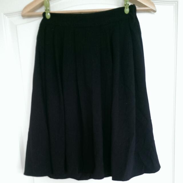 黑色棉質及膝裙