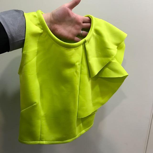 螢光黃 荷葉無袖上衣