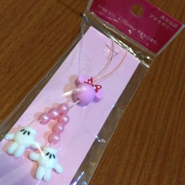 【全新/含運】正版東京迪士尼 米妮手掌串珠手機吊飾 #運費我來出