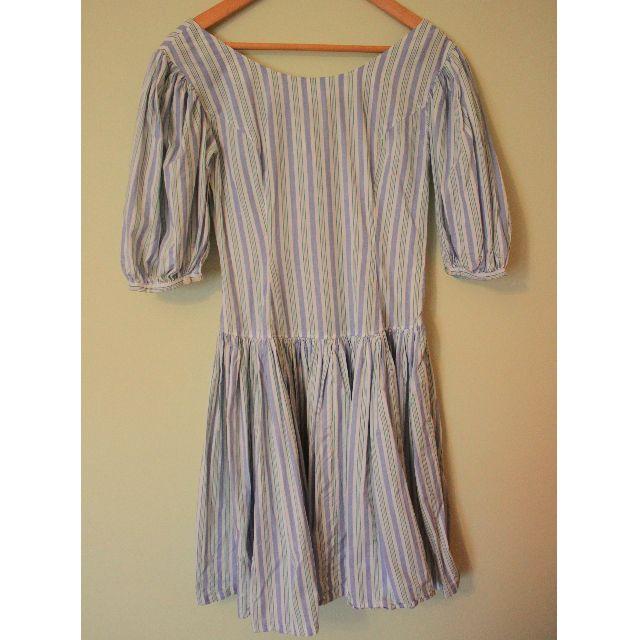 | JP VINTAGE | Stripe Princess sleeves Tied waist Dress