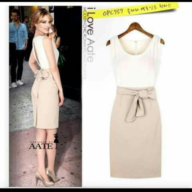 💕 Style Chiffon Color Combined Dress With Waisted Belt💕