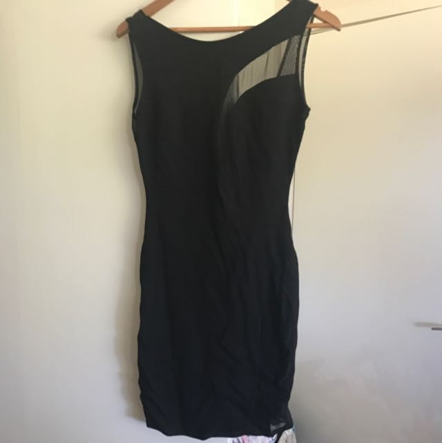 Black Dress With Sheer Panalling