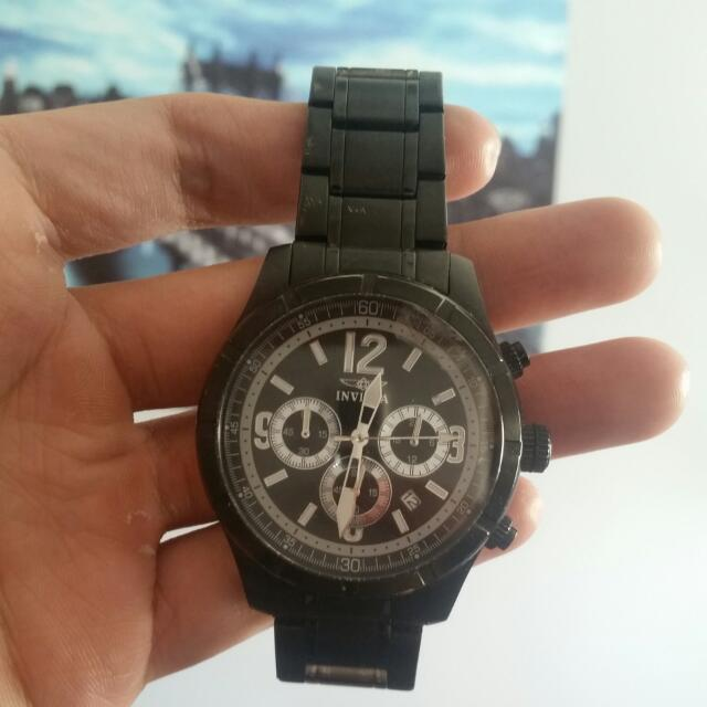 Black Invicta Flame-Fusion Crystal Chronograph Watch