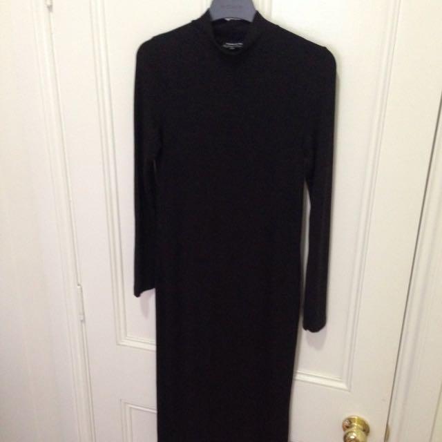 Black Jersey Midi Dress